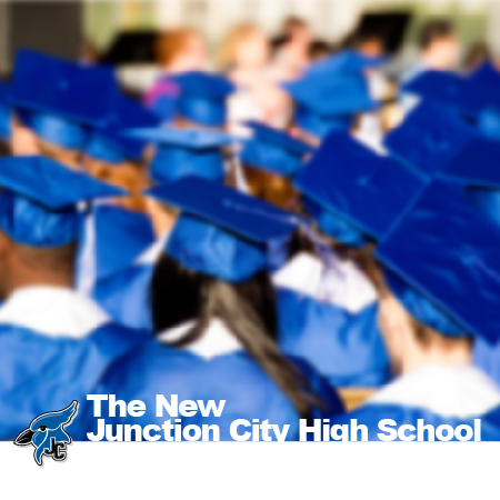 Advertisement for new JCHS. Photo of students at graduation wearing blue cap and gown.