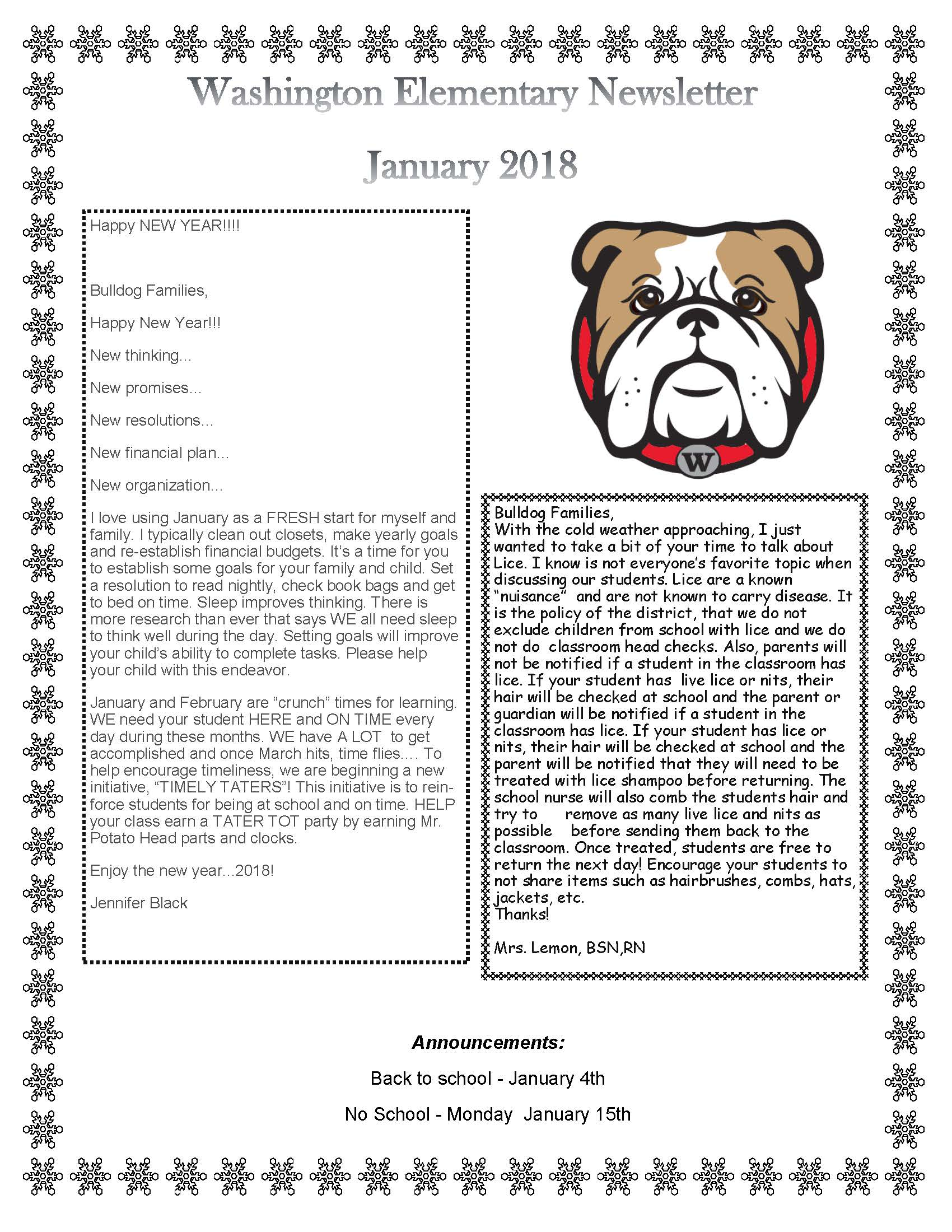 January 2018 Newsletter Page 1