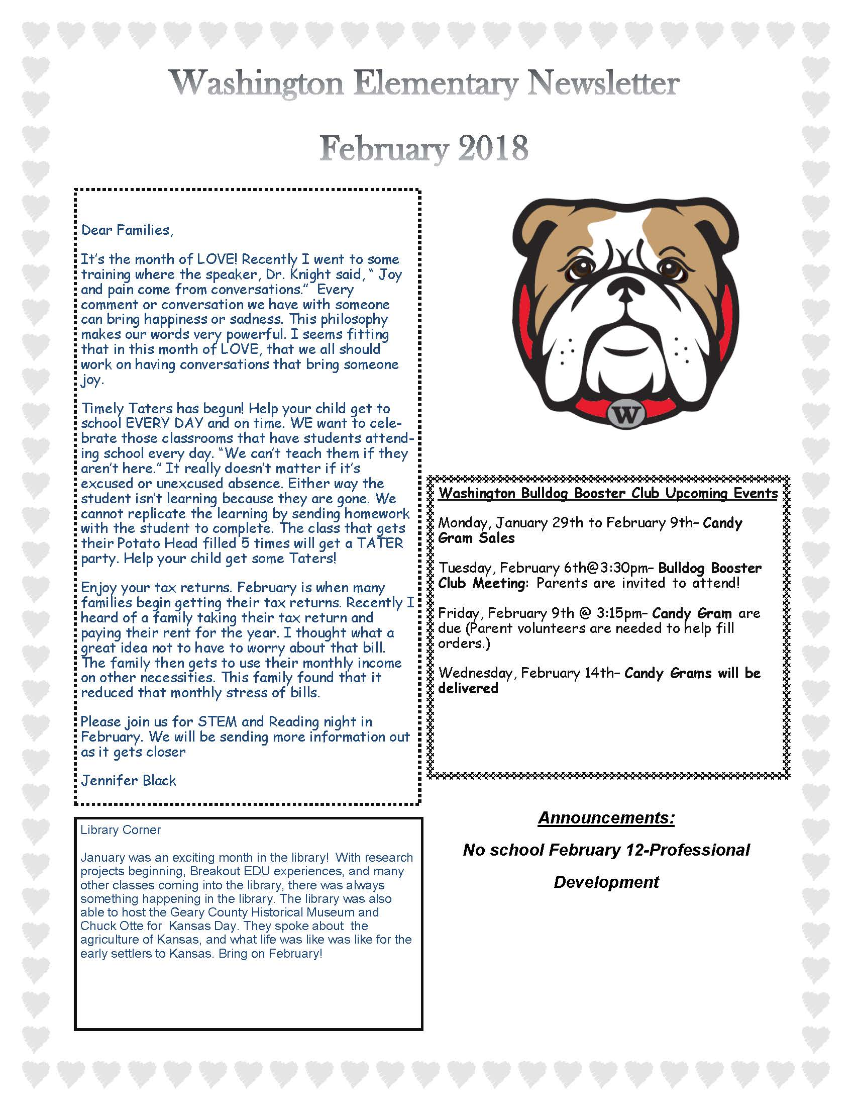 February 2018 Newsletter Page 1