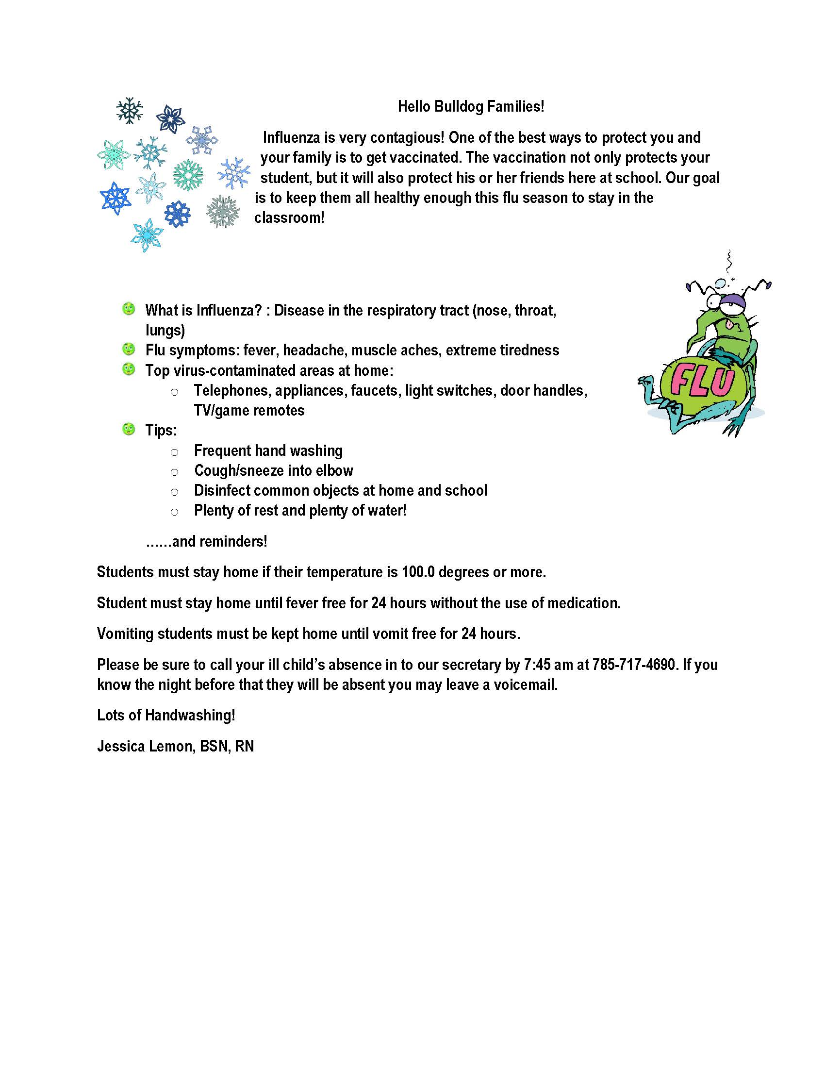 Letter about the flu
