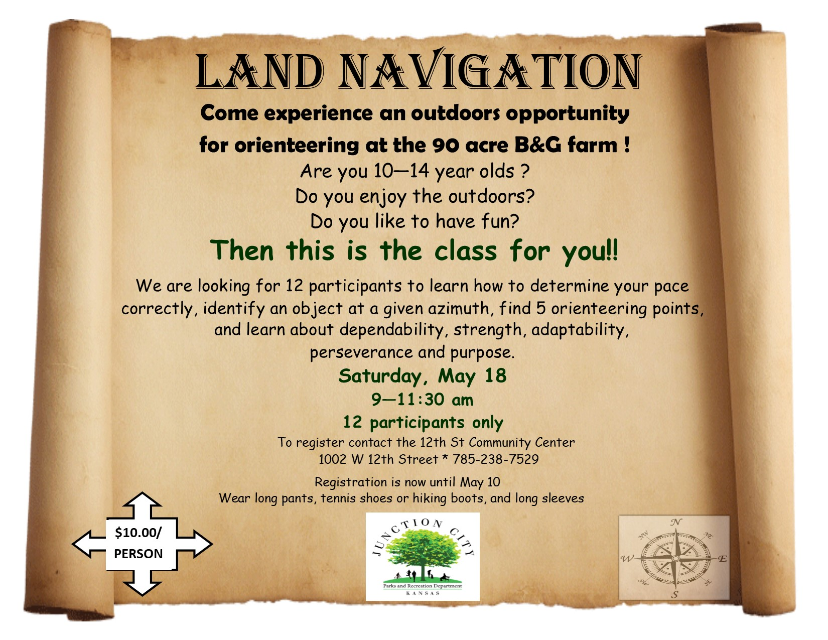 Flyer of Land Navigation event Saturday, May 18 9-11:30 AM 12 participants only To register, contact the 12th St Community Center 1002 W 12th Street 785-238-7529