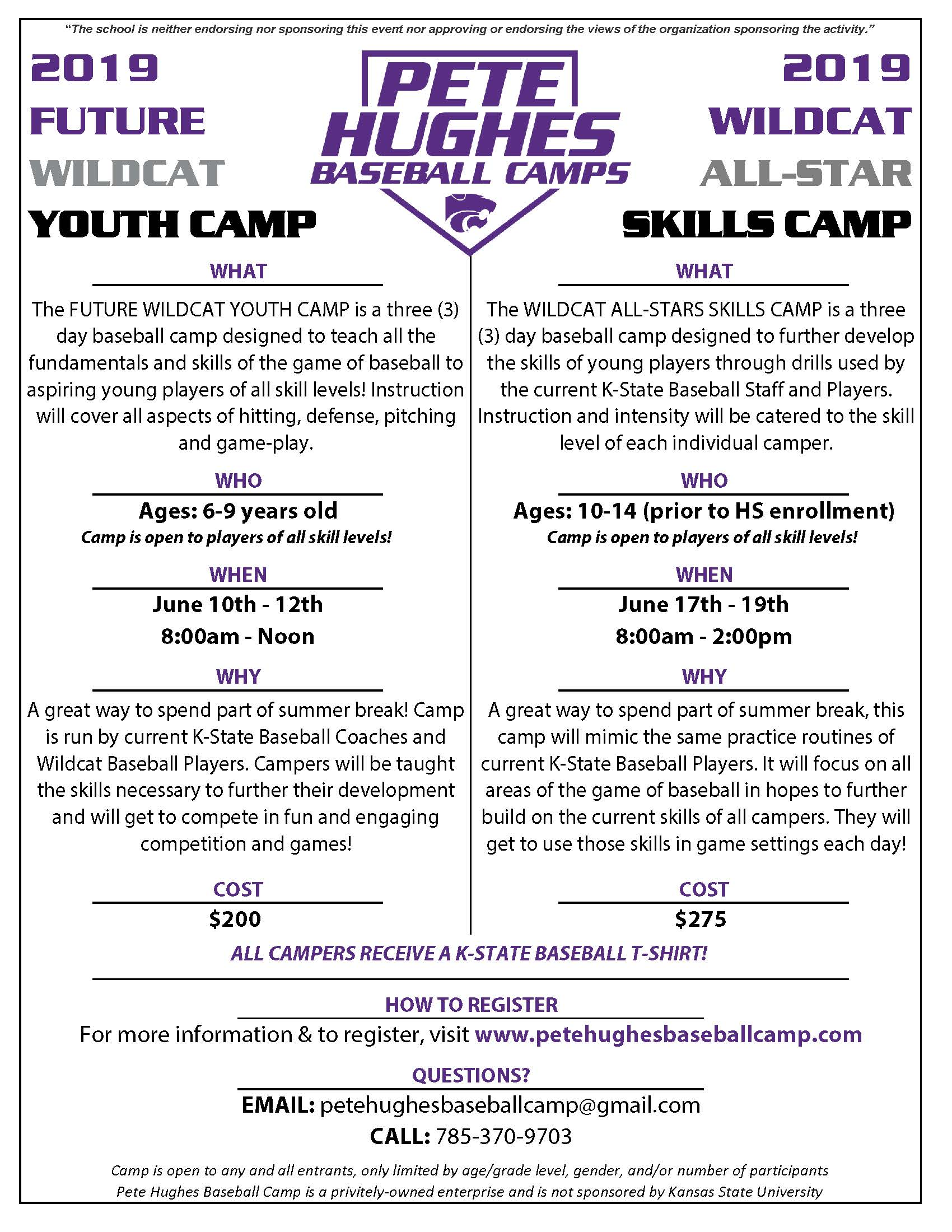 Flyer for youth baseball camp