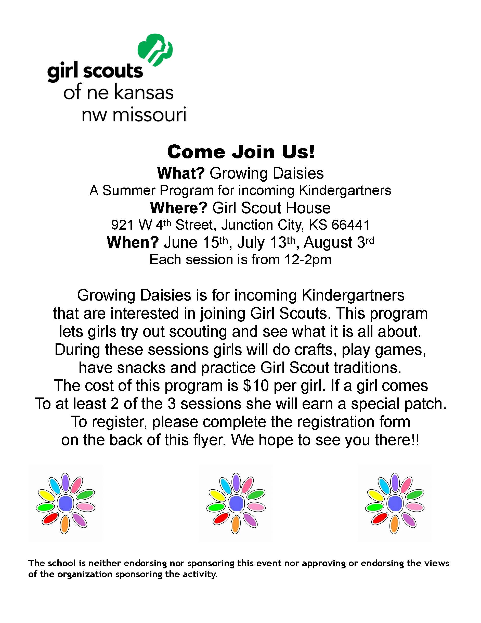 Growing Daisies Girl Scouts flyer