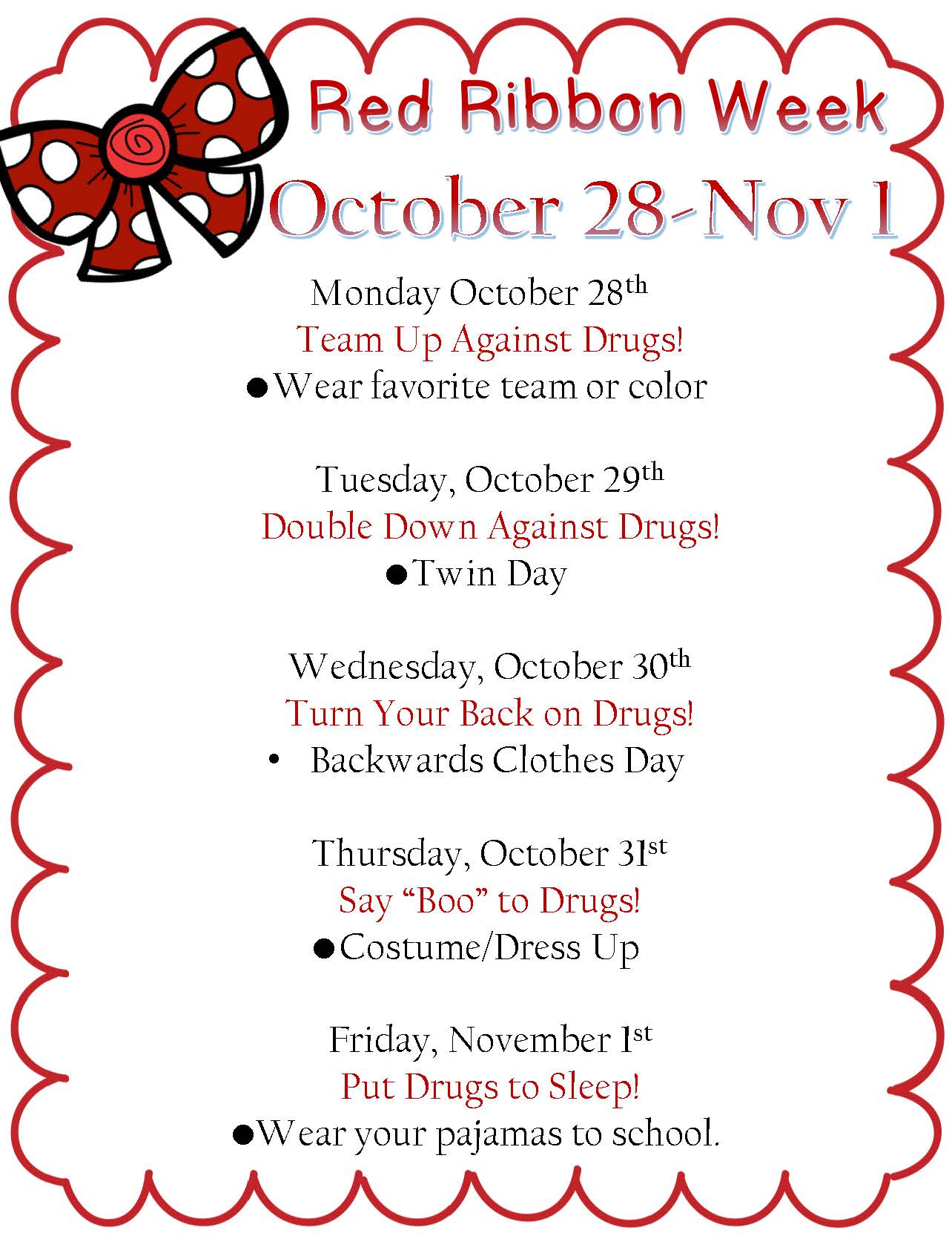 Red Ribbon week dress up list