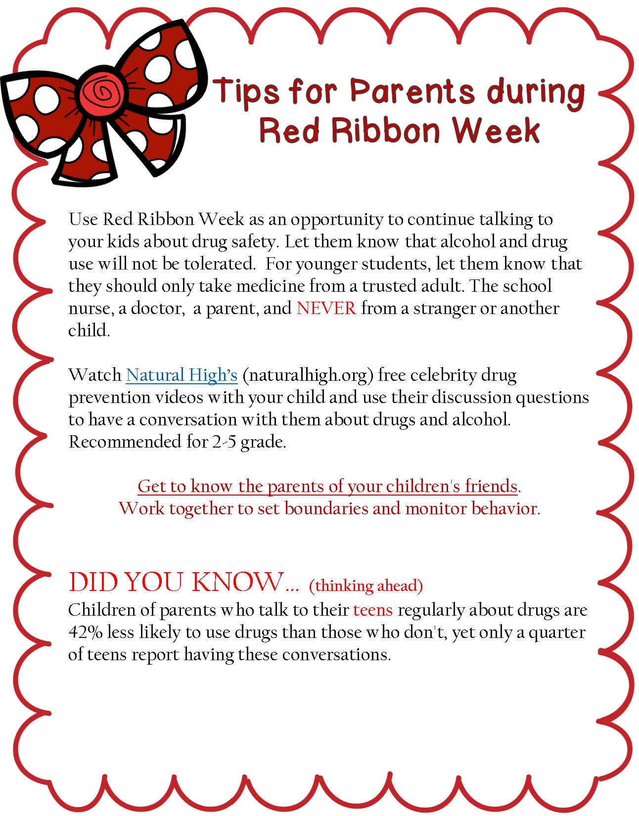 Tips for Parents for Red Ribbon Week